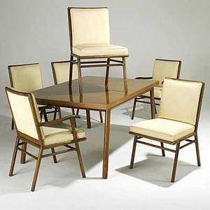 Th robsjohngibbings widdicomb walnut dining table with two leaves two armchairs and four sidechairs c 1950 table with manufacturer decal table 29 x 62 x 40 leaves 18 armchairs 34 1