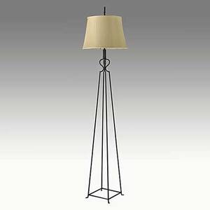 Tommi parzinger enameled iron floor lamp with original silk shade unmarked base 75 x 11 12 sq shade 17 dia