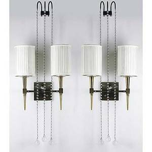Tommi parzinger pair of brass and glass wall sconces with silk shades unmarked fixtures 15 x 12 x 6
