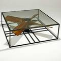Hugo cesar tonti argentina reclaimed vintage propeller coffee table with new iron base c 2005 unmarked 18 14 x 47 sq
