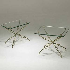 Style of bagues pair of bronze fauxbamboo side tables with plate glass tops unmarked 15 12 x 19 x 14