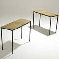 Parchment pair of enameled iron sofa tables with natural parchment tops unmarked 20 x 25 12 x 11