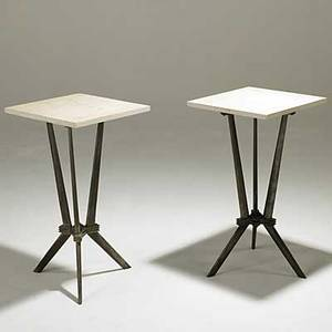 French art deco pair of cast lead and stone side tables unmarked 25 12 x 16 sq