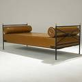 Andre arbus wroughtiron bronze and leather daybed unmarked 29 12 x 36 x 77
