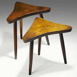 George nakashima pair of walnut side tables unmarked tallest 17 12 x 17