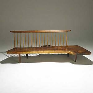 George nakashima figured walnut conoid bench with hickory spindles unmarked provenance available 30 x 83 x 39