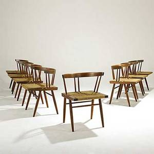 George nakashima set of eight walnut grass seated chairs unmarked provenance available 27 12 x 23 14 x 19 12