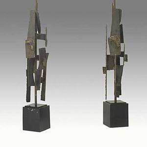 Harry balmer flemington iron works pair of welded oxidized steel table lamps on black enameled bases unmarked 50 34 x 5 12 sq