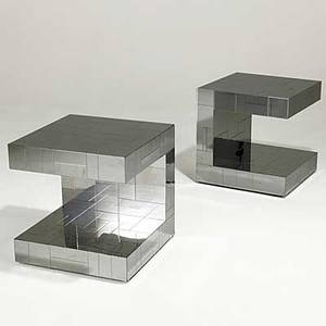 Paul evans pair of cityscape bright chrome side tables one inscribed paul evans 20 12 x 20 sq