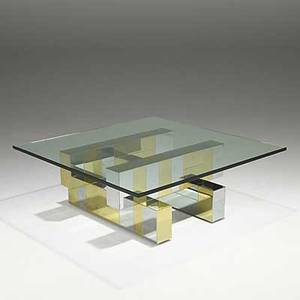 Paul evans cityscape coffee table with plate glass top unmarked 15 14 x 42 sq