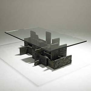 Paul Evans Unusual Sculpted Bronze Cocktail Table With Plate Glass Top 1972  Signed Pe 72 16