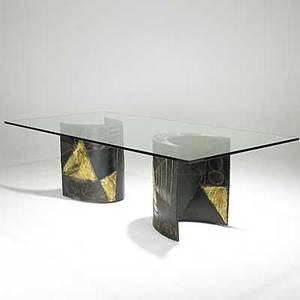 Paul evans patinated and welded steel dining table with plate glass top 1969 welded pe 69 29 14 x 96 x 48
