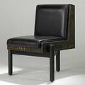 Paul evans unusual mixed metal patchwork and black leather lounge chair on welded steel base unmarked 33 x 26 x 26 12