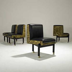 Paul evans set of four rare bronze patchwork and black leather dining chairs on welded steel bases 1970 provenance available each signed paul evans 70 33 x 25 x 24