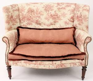 Wingback Settee with Toile Upholstery