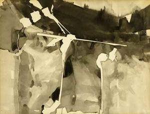 Morris kantor american 18961974 untitled ink wash on paper framed 1955 provenance private collection new jersey signed and dated 16 14 x 21 14 sight