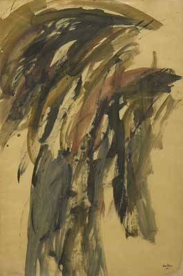 Manuel duque spanish 19191998 untitled mixed media on paper framed 1960 provenance galerie breteau paris label on verso kootz gallery new york label on verso private collection pen