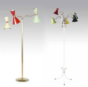 Arredoluce sixlight floor lamp with enameled metal shades on white enameled metal base together with an arredoluce attr umbrella floor lamp with three adjustable enameled metal shades on brass bas