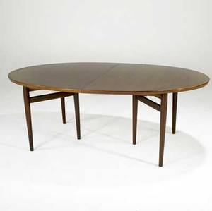 Arne vodder for sibast rosewood oval dining table on tapered rosewood legs with two inserts unmarked table 28 12 x 78 12 x 48 34 inserts 19