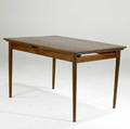 Danish modern teak extension dining table on tapered legs unmarked 29 12 x 49 x 35