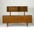 Danish modern tambor door teak credenza with detachable hutch interior with fitted drawers and adjustable shelves possibly by koffod larsen danish control label back side finished with hutch 56