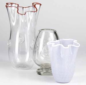 Glass lot three pieces clear glass footed vase probably scandinavian etched with bubbles and two small fish small chip and some light scratches to foot opalescent lavender glass vase with white