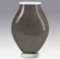 Gian luigi pieruzzi  barovier  toso tall vase in speckled gray with white opaque rim and base signed 12 18 x 8