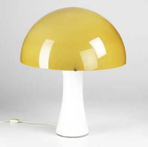 Venini murano glass lamp with yellow dome shade over white cased glass base original venini murano decal to base overall lamp 19 12 x 15 12 base 11 34 x 14