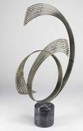 Curtis jere table top sculpture with shaped metal rods on marble base 36 x 21 x 6