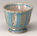 Gambone footed ceramic vessel with recessed panels covered in frothy turquoise green and white glaze marked gambone italy with donkey 4 12 x 5 14