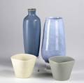 Palshus blue bottle shaped vase together with blue bulbous stoneware vase and two tapering planters palshussigned and labeled denmark palshus 10 38 x 3 12 dia