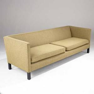 Edward wormley  dunbar long sofa with original fabric upholstery on ebonized wood legs signed dunbar on upholstery 26 12 x 84 12 x 30