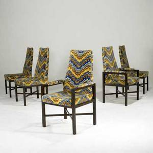 Edward wormley for dunbar set of five dining chairs with walnut frames and velour upholstery d tag 42 12 x 24 12 x 23 12