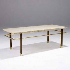 Harvey probber coffee table with travertine top on mahogany and brass base 15 x 42 x 18