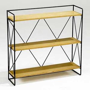Style of paul mccobb wall shelf with metal frame and ash shelves 20th c 24 x 24 x 7