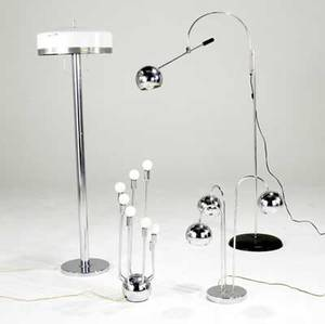 Modern lighting two floor lamps and two table lamps in chromed steel and enameled metal components tallest 58 x 29