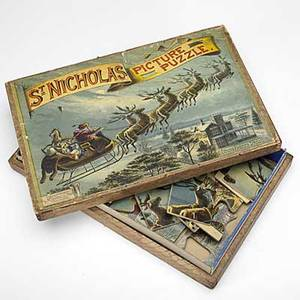 St nicholas picture puzzle part of the young american scrolls series ca 1890 mcloughlin bros new york complete in box 2 x 12 12 x 8