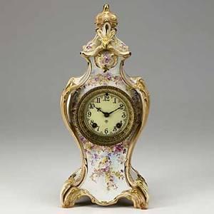 Ansonia porcelain clock royal bonn case 8 day time and strike movement ca 1900 16
