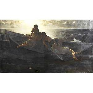 19th c european narrative painting oil on canvas of three sirens and a sailor in his boat framed 36 x 65