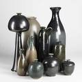 Jim spires ten pieces include nine vases and an ewer ca 1990 some numbered each signed tallest 21 34
