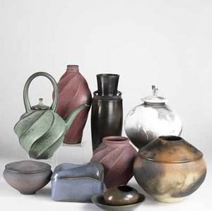 Contemporary studio pottery ten items include teapot and vases by jim connell and other pieces by mouka russ d helga cohen and michael brostko most signed tallest 17