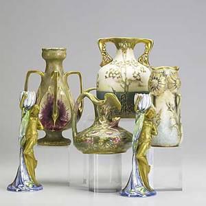 Riessner stellmacher  kessel six porcelain amphora vases ca 1900 various marks tallest 7 34