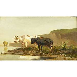 Anton mauve dutch 18381888 oil on canvas mounted on wood panel of landscape with cows framed signed 11 38 x 20 14