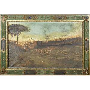 19th c american painting oil on canvas of an biblical landscape of jerusalem framed 34 x 53
