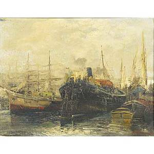 Ezelino briante italian 19011971 oil on canvas painting of harbor scenes framed signed 17 12 x 19 12