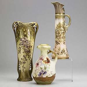 Riessner stellmacher  kessel three vases ca 19001920 each stamped amphora red r st k tallest 14