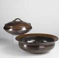 Val cushing stoneware covered bowl and large bowl with flared rim each signed large bowl 6 x 17 x 17 covered bowl 7 x 13 x 13