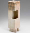 Modern footed slabbuilt stoneware sculpture marked with artists cipher 14 12 x 4 12 x 4 12