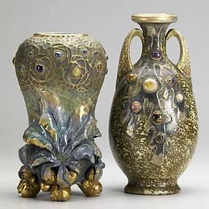 Riessner stellmacher  kessel two porcelain amphora jeweled vases 20th c stamped amphora r st k crown mark taller 11