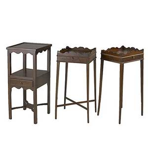 Three english side tables mahogany ca 1800 pair of tables are reproductions largest 31 x 13 x 13 14